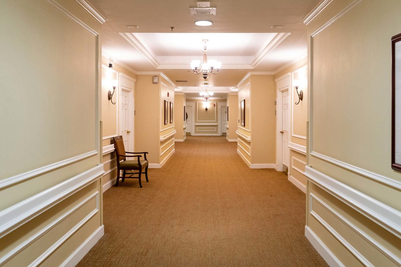 Memory care hallway at The Colonnade at Northdale in Tampa, FL