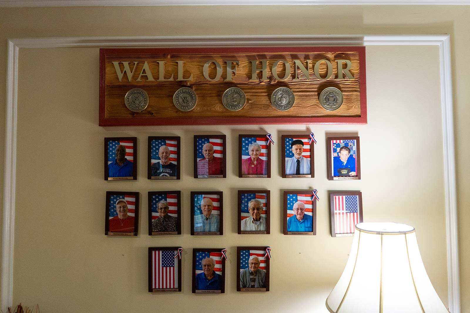 Veterans Wall at The Colonnade at Northdale assisted living and memory care community in Tampa, FL